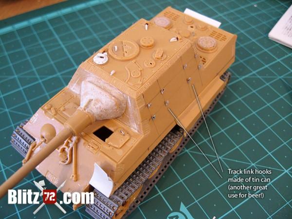 Jagdtiger 331 scratchbuilt spare track link on hull sides
