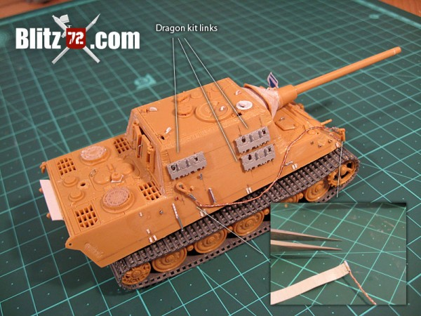 Jagdtiger with twisted cooper wire tow cable, scratchbuilt details and Dragon spare track links
