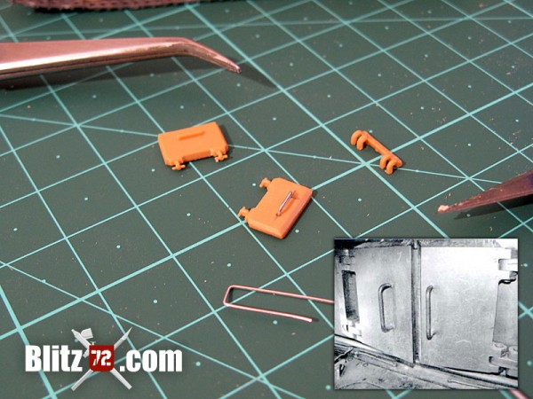 Italeri Jagdtiger hatches improved with thin wire for the handles