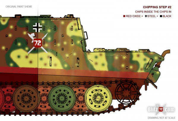 Jagdtiger weathering - Chipping step 2