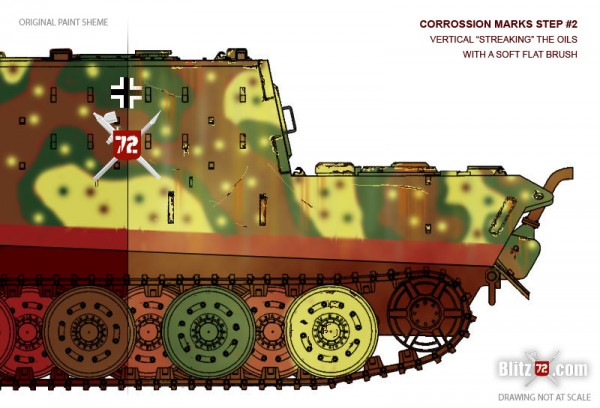 Jagdtiger weathering - Corrosion streaks and marks
