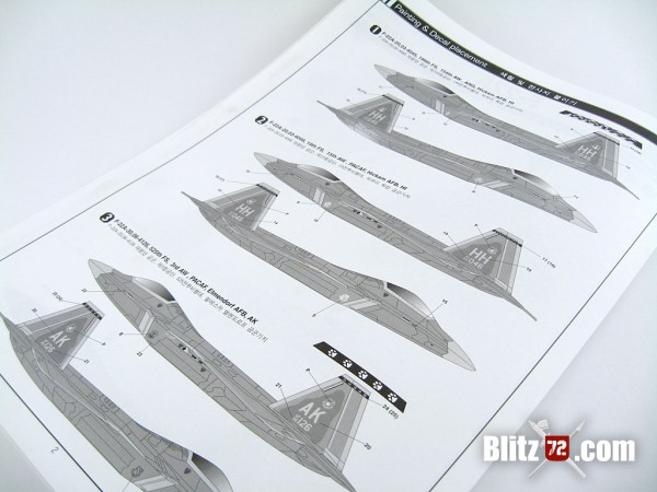 Academy F-22A Air Dominance Fighter kit #12423 paint instructions