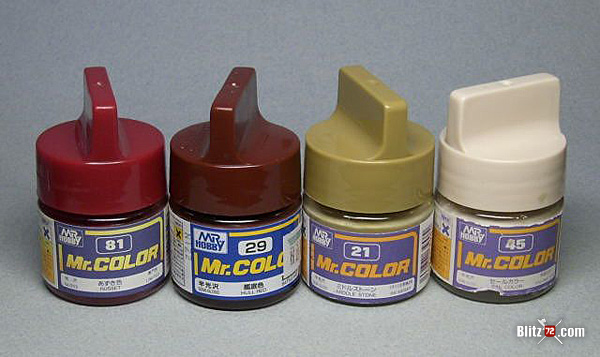 Mr. Color scale model paint jars