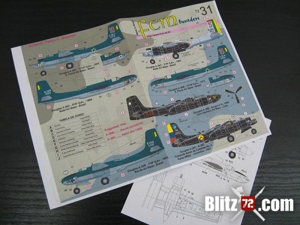 1/72 FCM-72-21 Douglas Invader a-26 latin air forces decal sheet