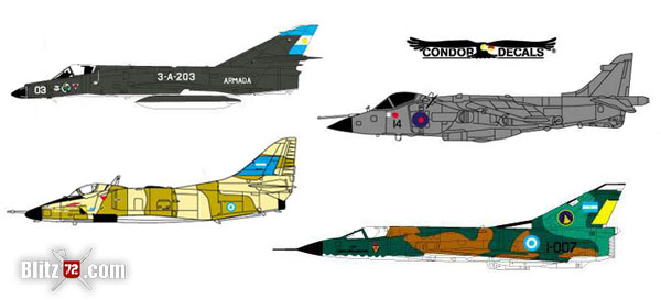 Malvinas Falklands Anniversary 30th Condor Decals 72005 Decals Sheet for Mirage, Skyhawk, Sea Harrier, Harrier Gr3