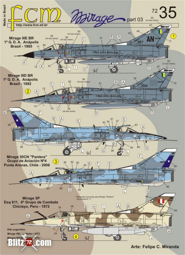 FCM Mirage latin decals 1/72