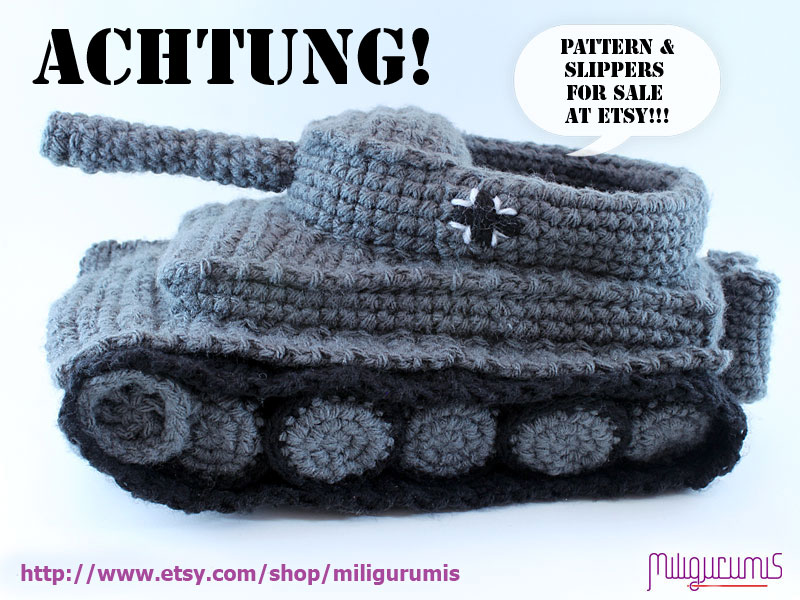 Knitting Pattern For Army Tank Slippers : Panzer Tank Slippers... in Crochet Pattern? Blitz72.com