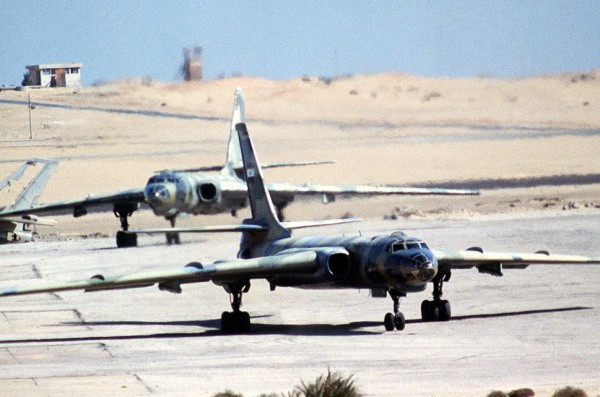 Front view of two Egyptian Air Force Tu-16